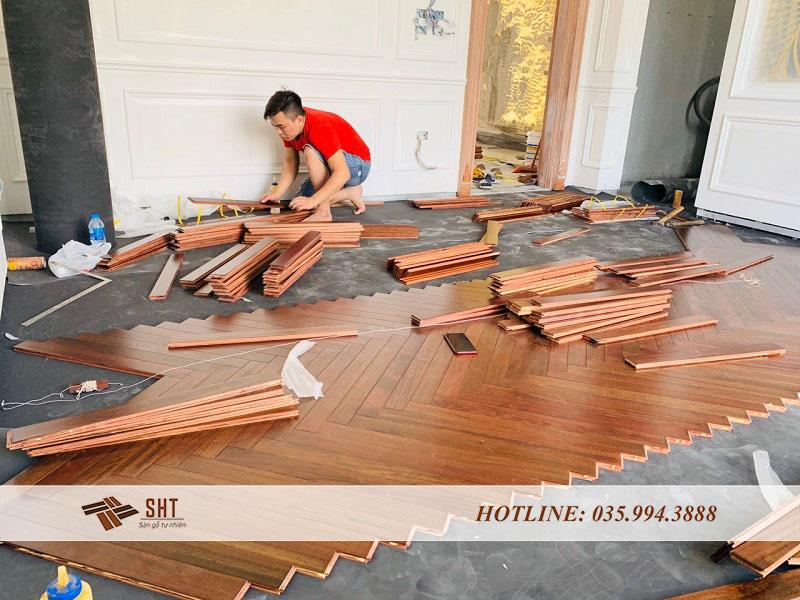thi công sàn gỗ cẩm trắc nam phi