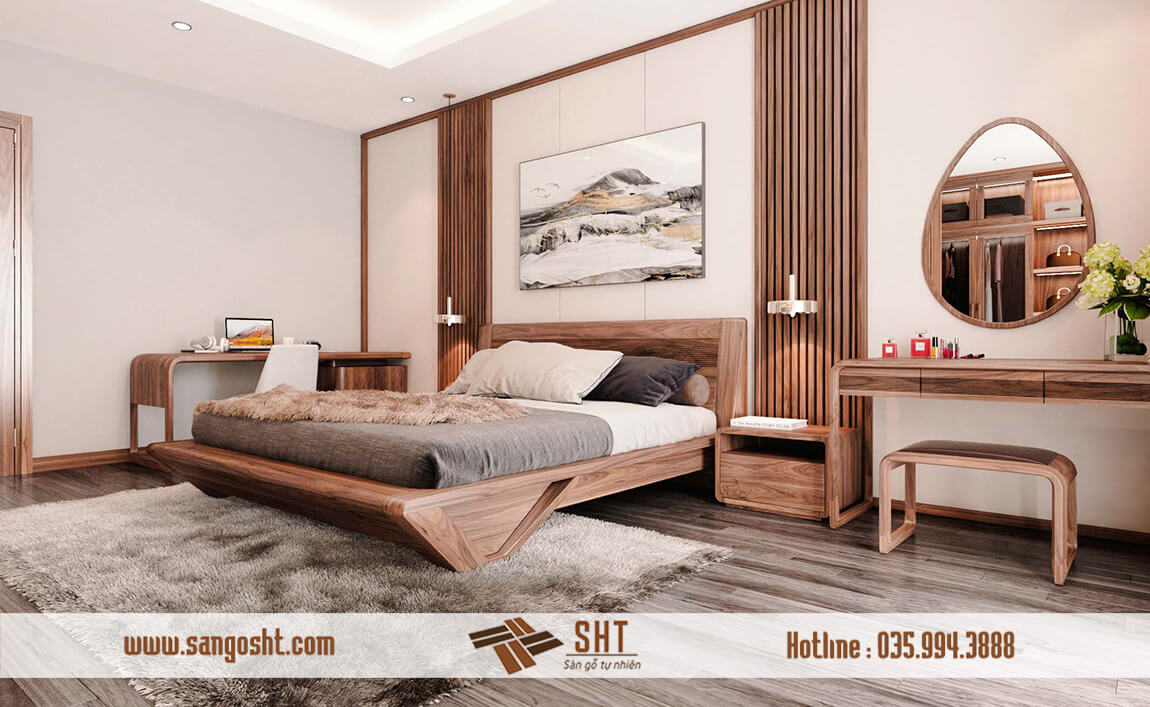 Giường gỗ óc chó tự nhiên