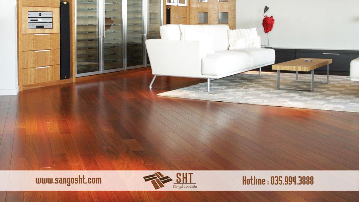 Hoàn thiện sàn gỗ giáng hương lào