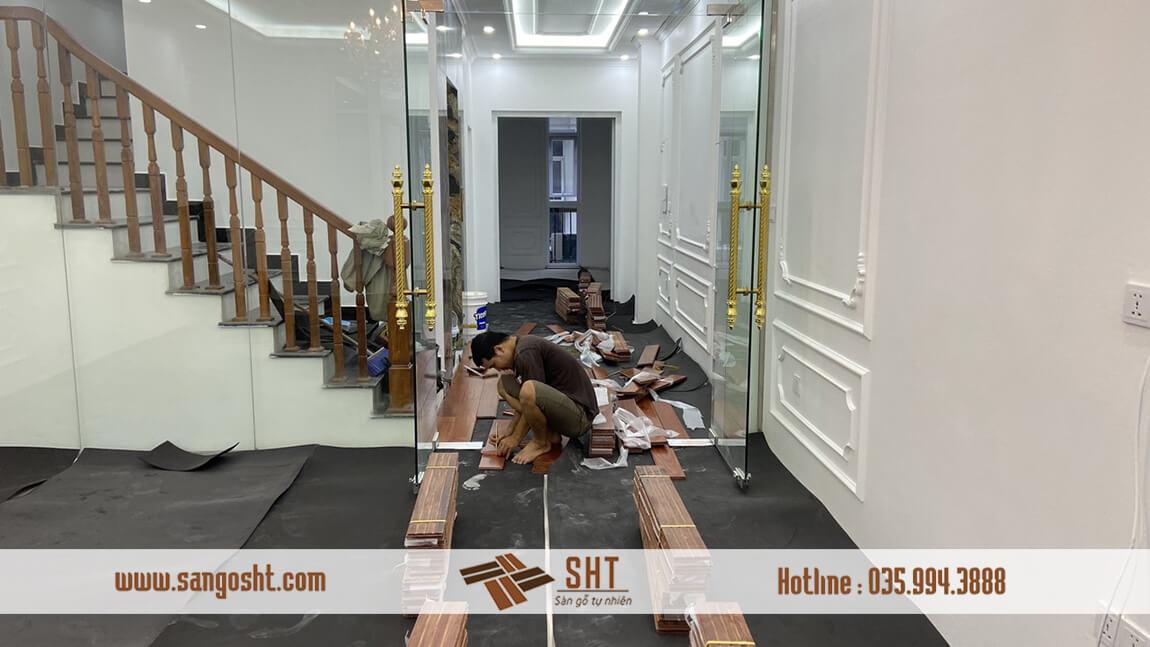 Chuẩn bị sàn gỗ cẩm để thi công