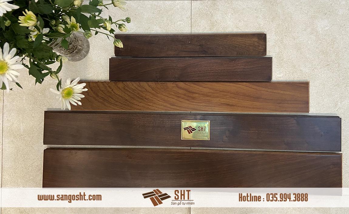 Sàn gỗ gõ đỏ sơn màu hạt dẻ
