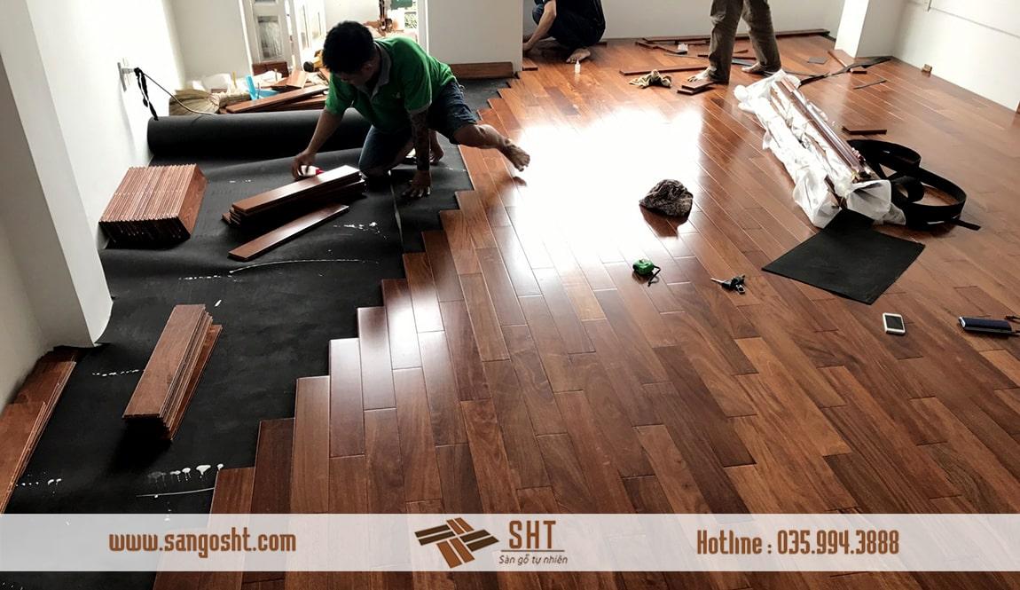 Thi công lắp đặt sàn gỗ gõ đỏ tại Bắc Ninh