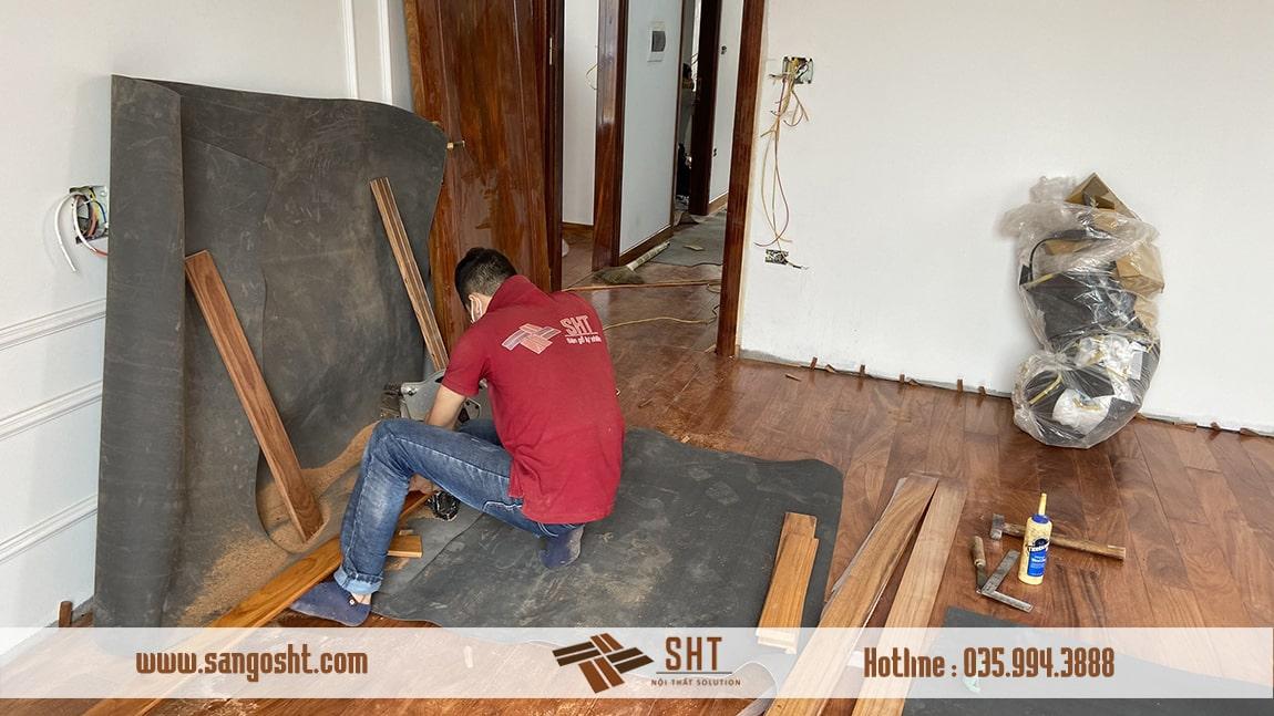 Lắp đặt sàn gỗ gõ đỏ