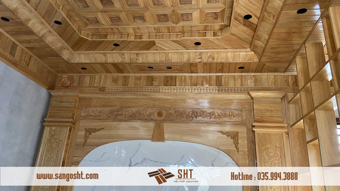 Lắp đặt trần gỗ pơmu